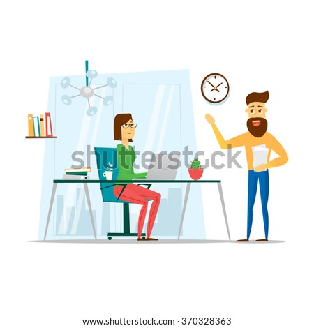 Business People. Business woman working in office her desk. People meeting discussing office desk and workplace. Flat vector illustration. - stock vector