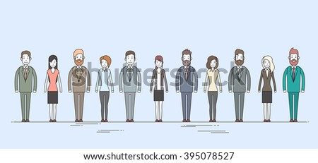 Business People Cartoon Character Set Full Length Man Woman Collection Vector Illustration - stock vector