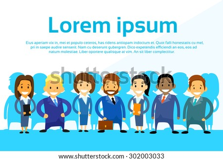 Business People Cartoon Group Diverse Team Vector Illustration - stock vector
