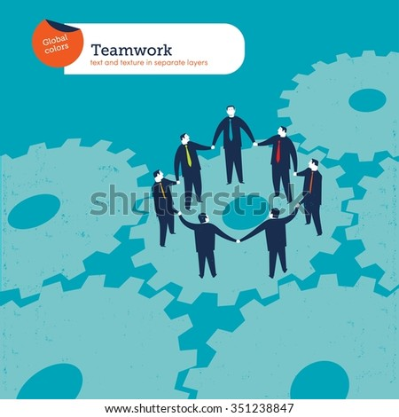 Business people circle on gears. Vector illustration Eps10 file. Global colors. Text and Texture in separate layers. - stock vector