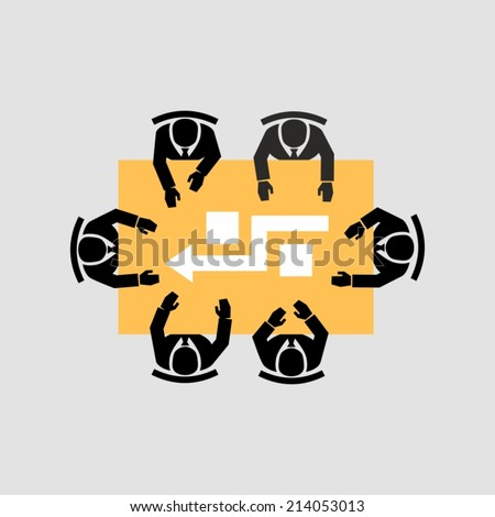Business People Colleagues Teamwork Meeting Seminar Conference icons vector  - stock vector