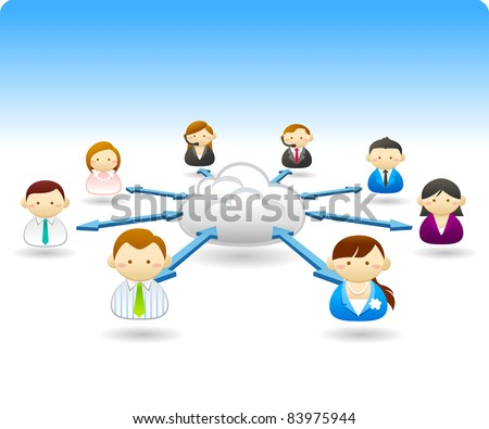 Business people communication with cloud - stock vector