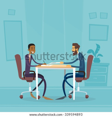 Business People Diverse Ethnic Group Sitting at Office Desk Flat Vector Illustration - stock vector