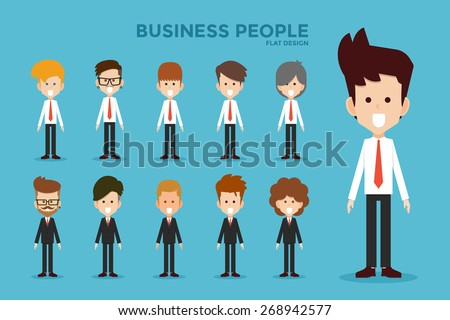 Business people flat design, vector. - stock vector