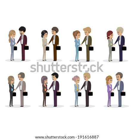 Business People Giving A Handshake - Isolated On White Background - Vector Illustration, Graphic Design Editable For Your Design  - stock vector