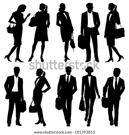 business people - global team - vector silhouettes - stock vector