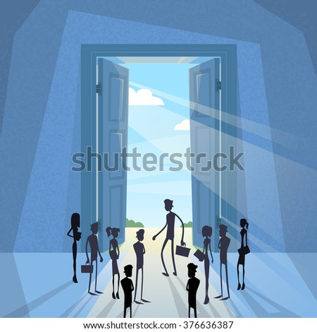 Business People Group Black Silhouette Standing at Door Entrance Light From Sun Vector Illustration - stock vector