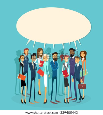 Business People Group Chat Communication Bubble Concept, Businesspeople Talking Discussing Communication Social Network Flat Vector Illustration - stock vector