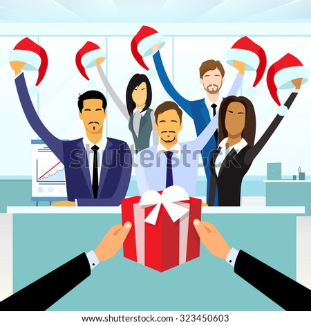 Business People Group Gift Box New Year Christmas Hat Corporate Present Party Holiday Flat Vector Illustration - stock vector