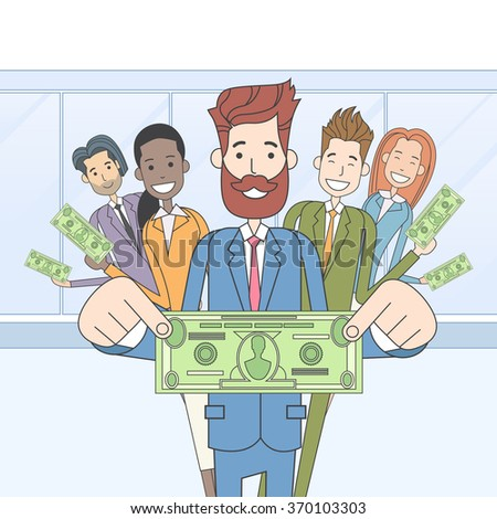 Business People Group Hold Dollar Banknote Concept Finance Investment Vector Illustration - stock vector