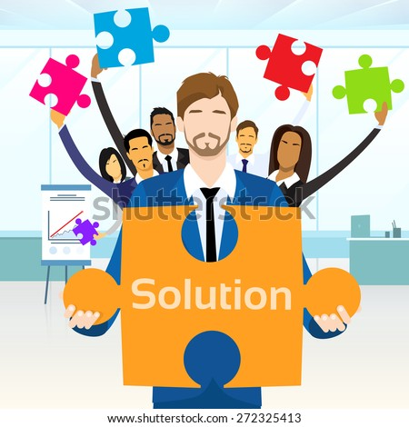 Business People Group Hold Jigsaw Puzzle Piece Concept of Solution Team Vector Illustration - stock vector