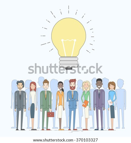 Business People Group Idea Concept Light Bulb Vector Illustration - stock vector
