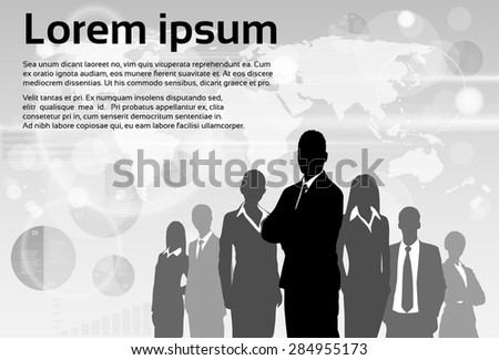 Business People Group Silhouette Executives Team with Copy Space Vector Illustration - stock vector