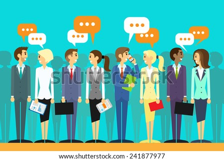 business people group talking discussing chat communication social network flat icon design vector illustration - stock vector