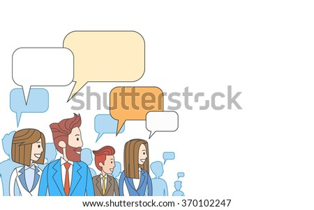 Business People Group Talking Discussing Communication Social Network Copy Space Vector Illustration - stock vector