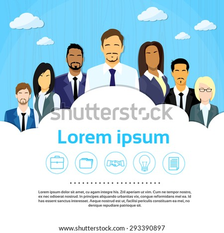 Business People Group Team Cloud Copy Space Flat Vector Illustration - stock vector