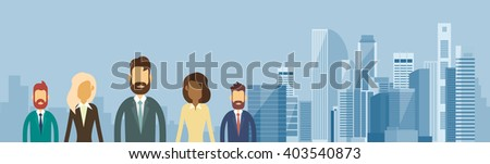 Business People Group Team Over Big City View Horizontal Banner Flat Vector Illustration - stock vector
