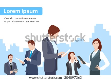 Business People Group Using Tablet Computer Internet Communication Flat Vector Illustration - stock vector