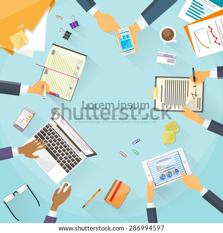 Business People Hands Desk Workplace Top Angle Above View Team Working Sitting at Office Flat Vector Illustration - stock vector