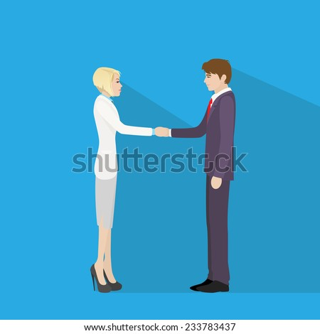 Business people handshake, businessman and businesswoman hand shake flat icon vector illustration - stock vector
