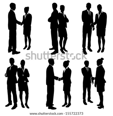 business people handshake silhouettes collection  - stock vector