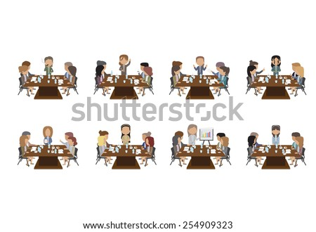 Business People Having Board Meeting Set - Isolated On White Background - Vector Illustration, Graphic Design Editable For Your Design. Team Working In Office - stock vector