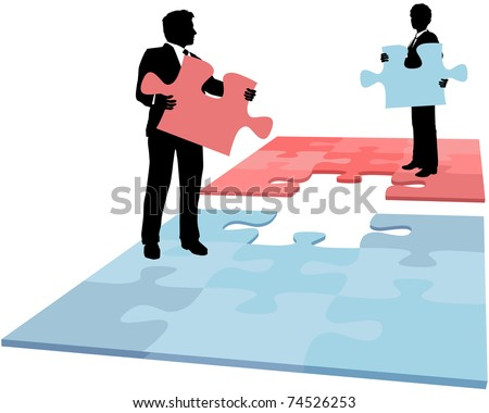 Business people hold missing puzzle pieces needed for solution to collaboration merger partnership problem - stock vector