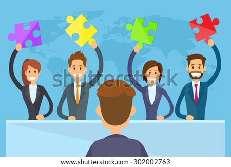 Business People Hold Puzzle Piece Concept of Solution Team Sitting Office Desk, Businesspeople Boss Team Group Meeting Flat Vector Illustration - stock vector