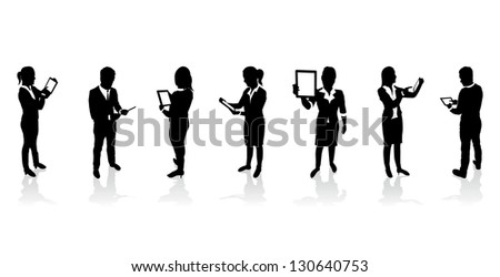 business people holding tablet screens - stock vector