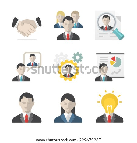 Business people icon set - stock vector