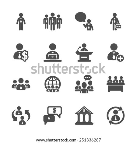 business people icon set, vector eps10. - stock vector