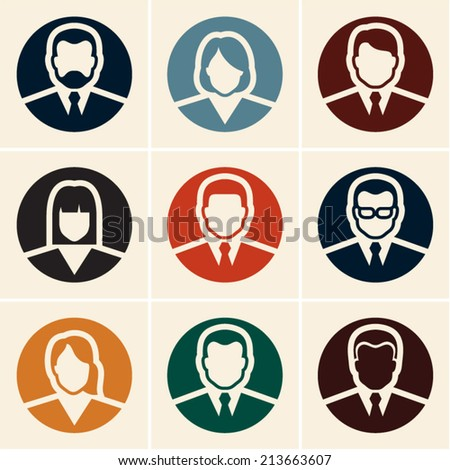 Business people icons. Avatar. User icon. - stock vector
