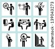 business people icons, business management and organization icons set - stock vector
