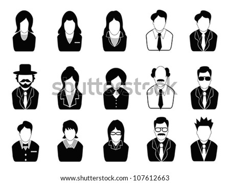 business people icons set - stock vector