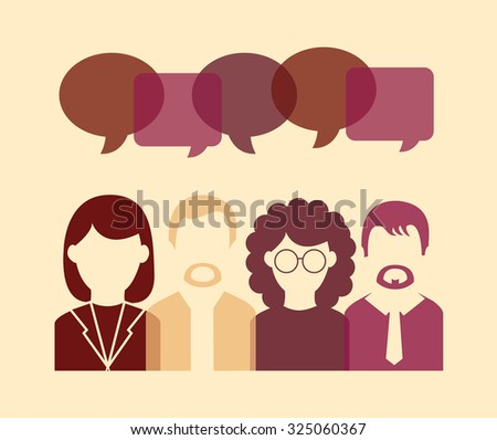 Business people icons with retro colors, conversation and share - stock vector