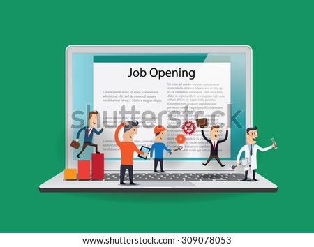 Business people in action on notebook. Job concept. Vector illustration - stock vector