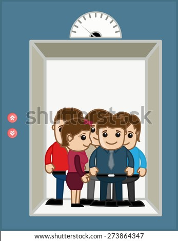 Business People in Office Elevator - Vector Illustration - stock vector