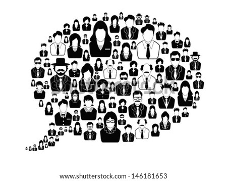 business people in the speech bubble - stock vector