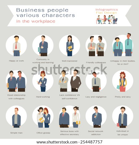 Business people in various characters in the workplace. Infographics with flat design character.  - stock vector