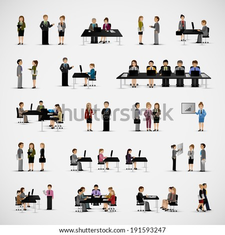 Business People - Isolated On Gray Background - Vector Illustration, Graphic Design Editable For Your Design   - stock vector