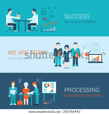 Business people lifestyle concept flat vector icon banners template set. Success partnership together united team processing report creative businessmen. Web illustration website infographics elements - stock vector