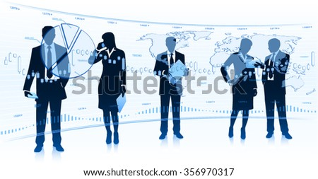 Business people looking at touch screen - stock vector
