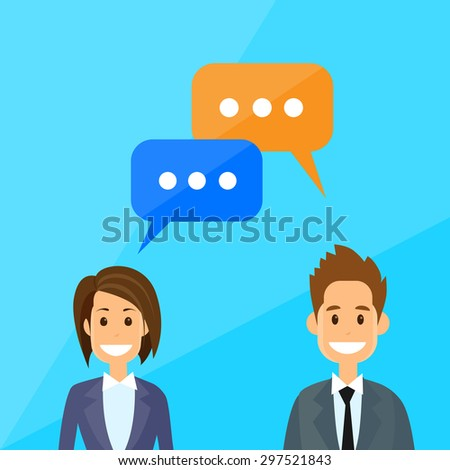 Business People Man and Woman Talking Discussing Chat Communication Flat Vector Illustration - stock vector
