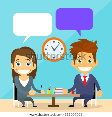 Business People Man and Woman Talking Discussing Chat Communication Sitting at Office Desk Flat Vector Illustration - stock vector