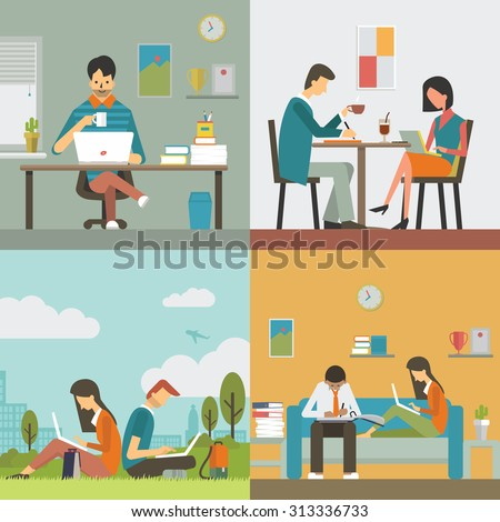 Business people, man and woman, working in various workplace, in office, restaurant or coffee shop, public park, and work at home. Flat design, diverse character.  - stock vector
