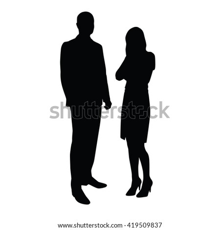 Business people. Man talking to woman. Vector silhouettes with shadow. Businessmen in formal wear. Man in suit, woman wearing stilettos high heels and skirt. Manager, lawyer, office, teacher, leader - stock vector