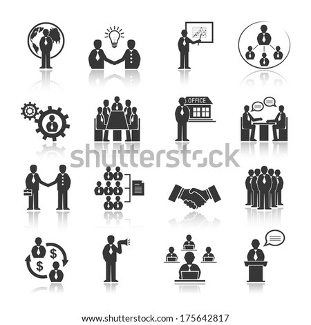 Business people meeting at office conference presentation icons set isolated vector illustration - stock vector