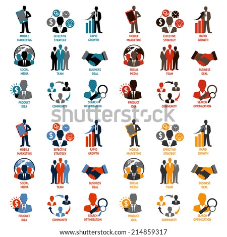 Business people meeting managements icons set of product idea community search optimization isolated vector illustration - stock vector