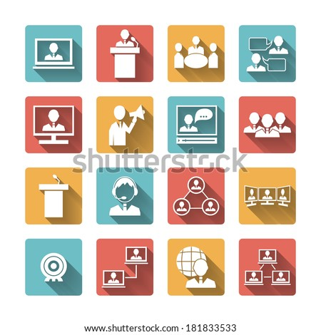 Business people meeting online and offline conference discussion and brainstorming icons set isolated vector illustration - stock vector