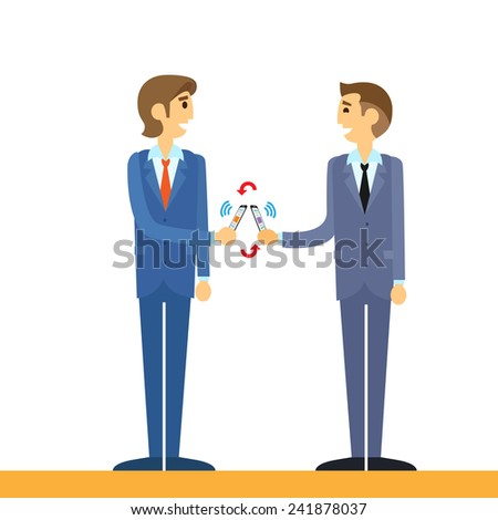 business people mobile payment with cell smart phone nfc technology vector illustration - stock vector